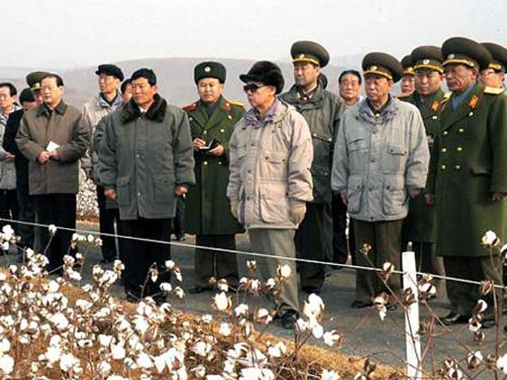 Kim Jong Il looking at cotton plants with a large group of high ranking soldiers