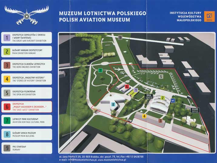 Plan of the outdoor exhibition of the Polish Aviation Museum
