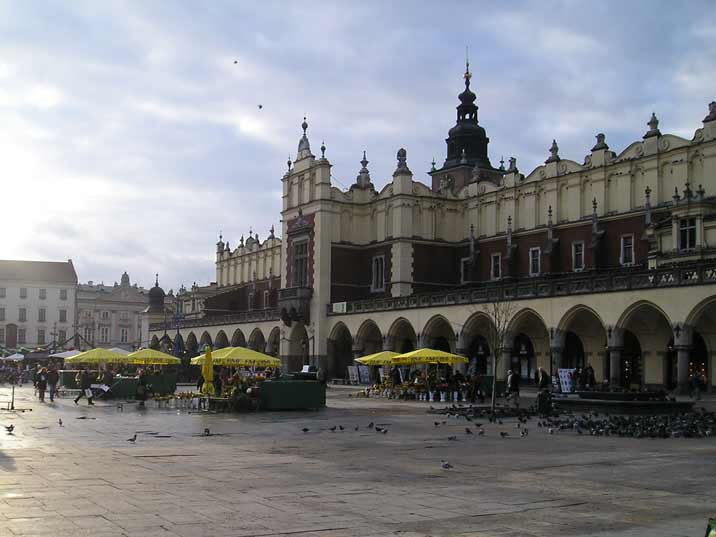 The 13th century Main Market Square in the old town of Krakow is the largest medieval central Square in Europe