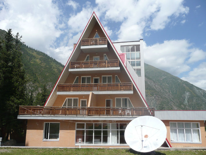 The modern Ala Archa Travelers lodge, located at the base camp is a perfect starting point for hikes in the area