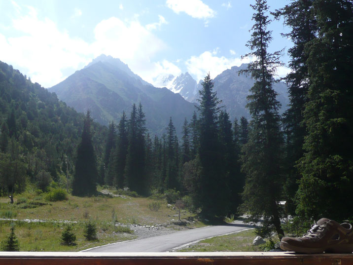 The view on the mountains from our hotel room in the Ala Archa Travelers lodge