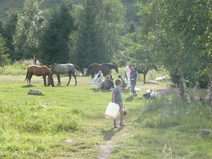 Locals with their horses having lunch and relaxing in the park while the kids are playing