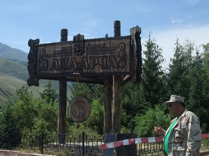 Entrance of Ala Archa National park, visitors have to pay a fee per day in the park