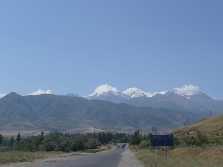 The Tian Shan mountains seen on the road from Bishkek to Ala Archa National Park