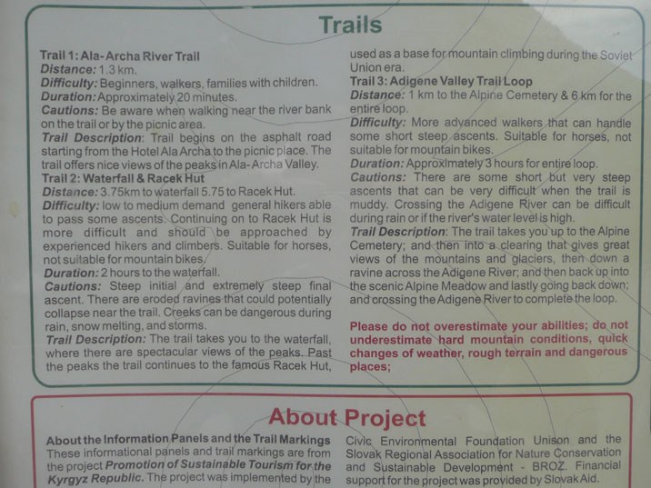 Description of three marked trails available for casual hikers, the length of the trails are 1,3km, 3,75km and 6km