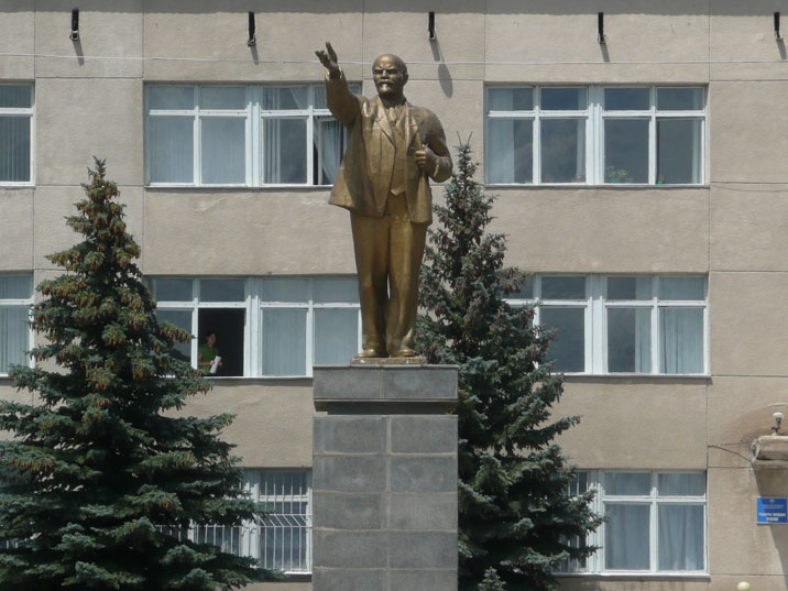 Bronze Lenin statue in front of the Balykchy Town Hall