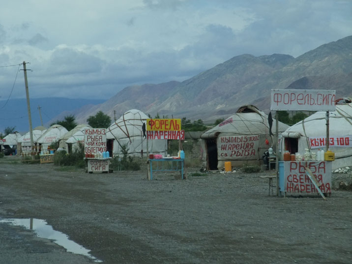 Yurts near Lake Issyk Kul selling fried trout, whitefish, Kumis (fermented mare's milks) and sea ??buckthorn liquors