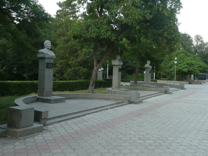 Busts of post Soviet Kyrgyz Statesmen including Ishak Razzakov, Isakeev Bayaly, Torobai Kulatov, Abdrahmanov Yusup and Orozbekov Abdykadyr