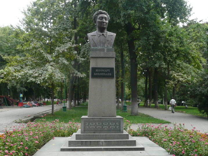 1947 bust of poet and playwright Djoomart Bokonbaev, the monument was stolen in 2003 and beyond repair when later found