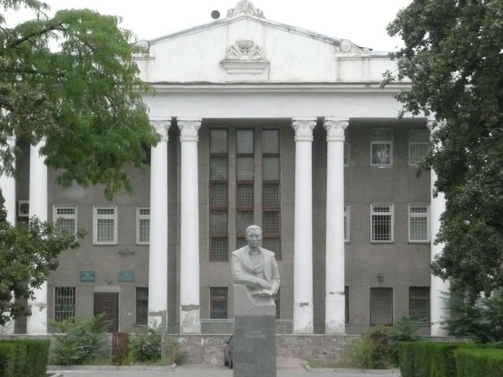 Statue of Kasym Tynystanov, a Kyrgyz scientist and pioneer of science, located in front of the National University