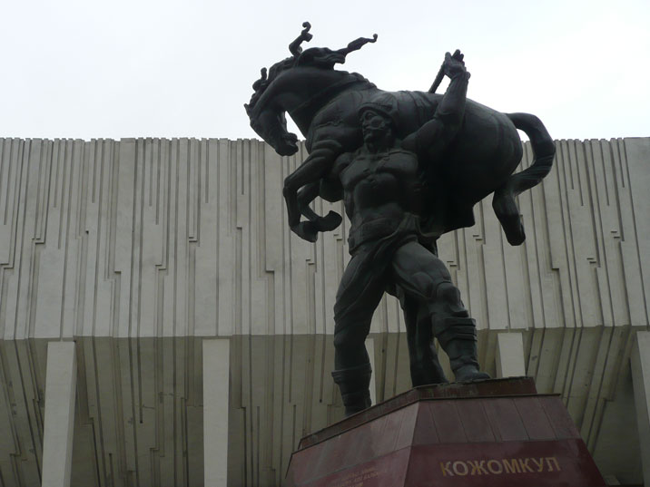 Monument from 1994 dedicated to Kojomkul, a legendary warrior of the Kyrgyz people and example to local sportsmen