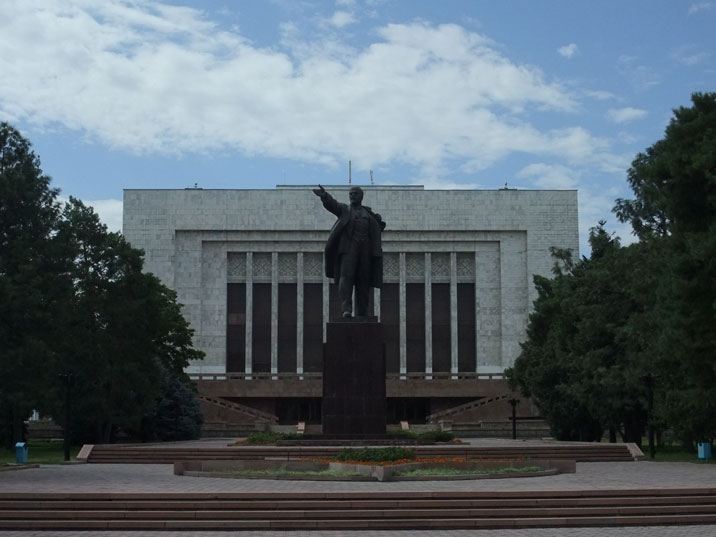 Lenin used to stand in the middle of Ala-Too Square, the main square in Bishkek but has now been relegated to the back of the former Lenin Museum