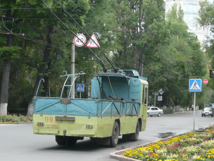 A rare trolleybus maintenance vehicle seen in the streets of Bishkek