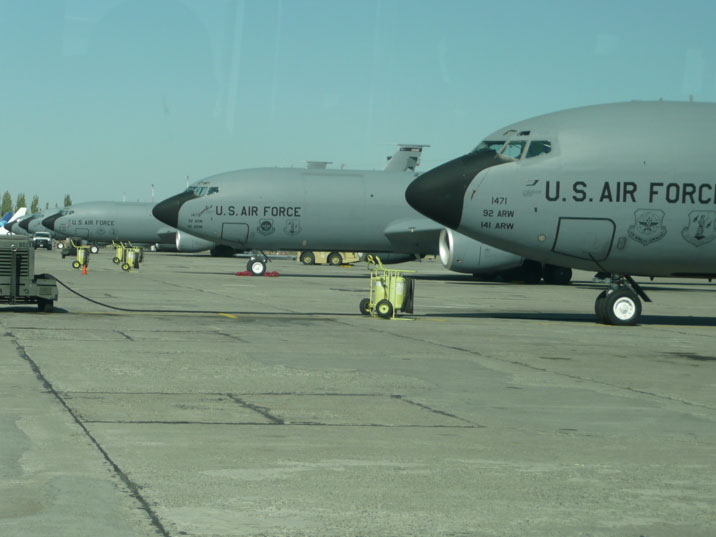Five US Air force KC-135 Stratotankers from the Air Mobility Command parked on the apron of Manas Air Force base