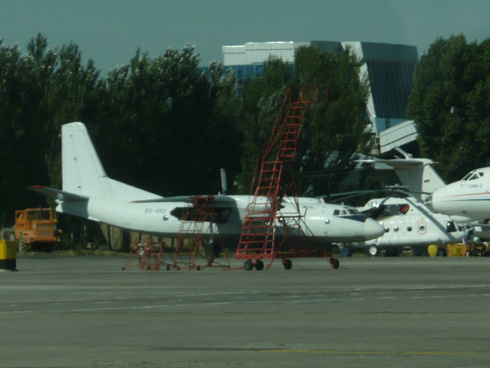 Antonov An-24RV number EX-252 operated by Avia Traffic Company from Kyrgyzstan seen on Manas Airport