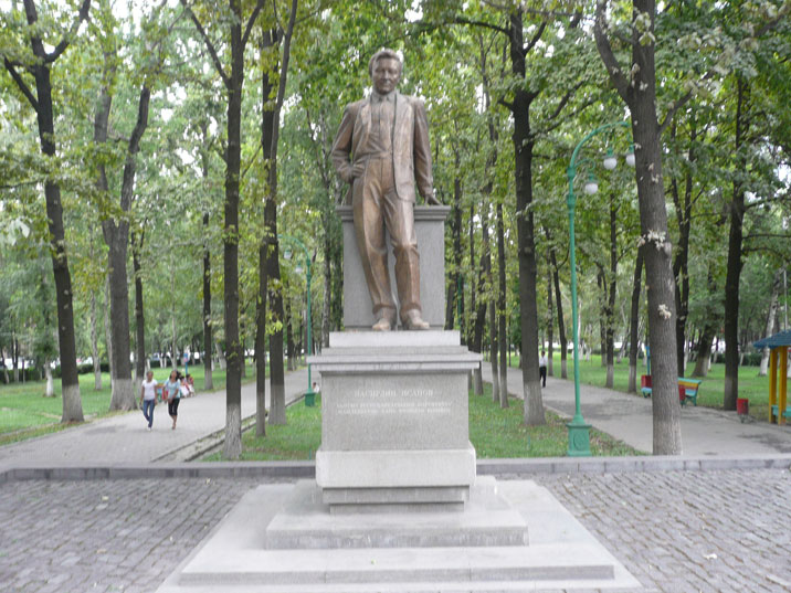 2003 monument to Nasirdin Isanov, the first Prime Minister of Kyrgyzstan who died under suspicious circumstances in a car crash
