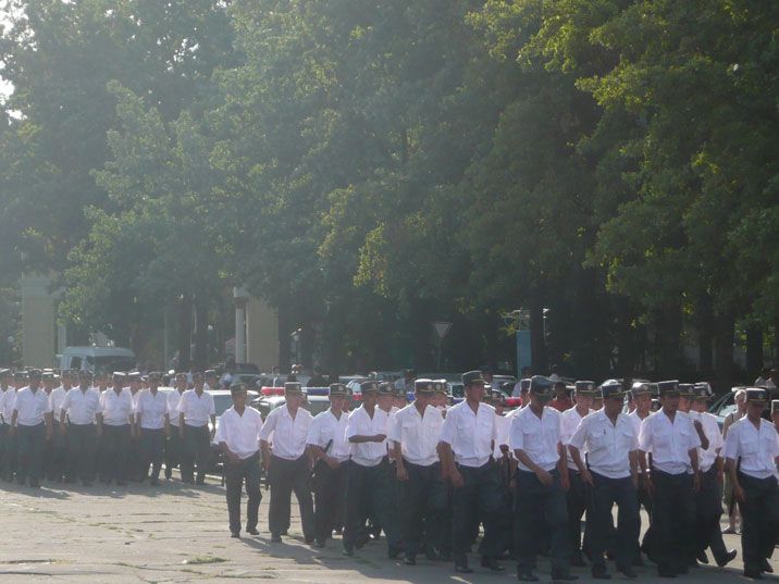 Kyrgyz police from the whole country parading in Bishkek