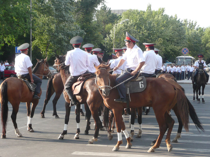 These Kyrgyz police men should be excellent horsemen, since the Kyrgyz have been nomads since the antiquity