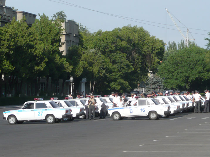 Police Ladas lined up during police drills in Bishkek during our visit in 2009