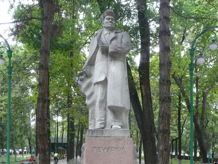 Statue of Temirkul Umetaliev who was awarded the title of Peoples Poet of the Kyrgyz Soviet Socialist Republic in 1968