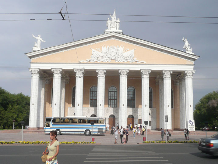 The Bishkek theatre of opera and Ballet with the Kyrgyz SSR Coat of Arms on the front was constructed in 1955 in classicists style