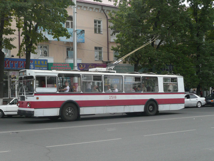A ZiU-9G trolleybus in one of the main streets of Bishkek