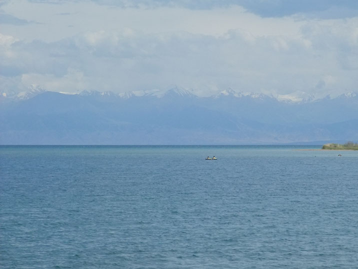 Lake Issyk Kul with the Tien Shan mountains in the background