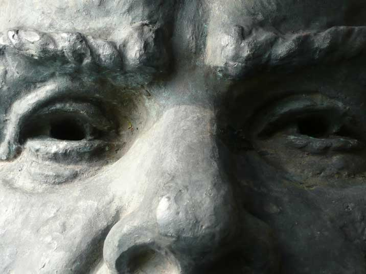 Hollow eyes from the brought down Lenin statue in Cesis Latvia