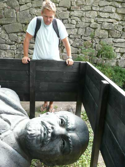 An unusual way of displaying a Lenin statue in Cesis Latvia