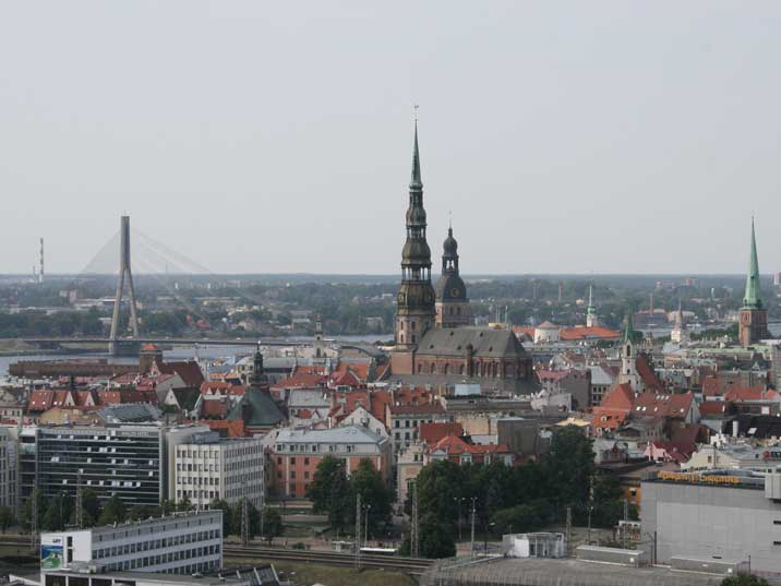 Riga city centre with many churches and the Shroud bridge
