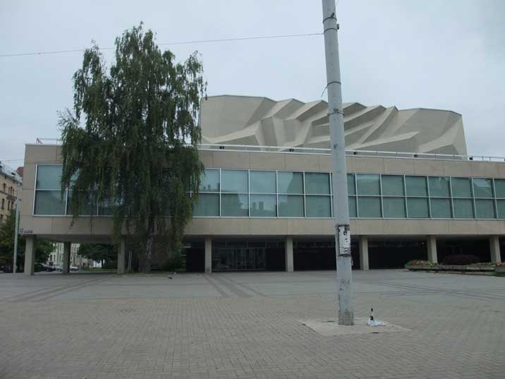 The Soviet era Dailes theatre in Riga with characteristic roof