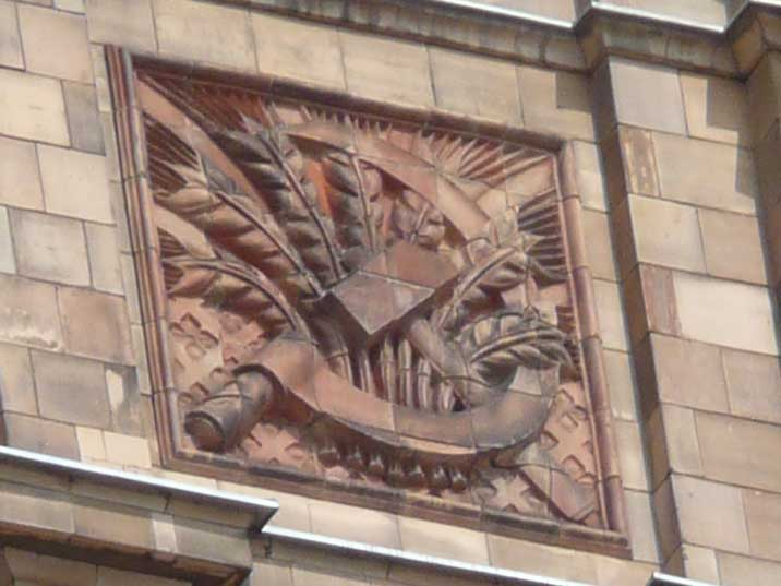 Hammer and Sickle decorations on the Latvian academy of sciences