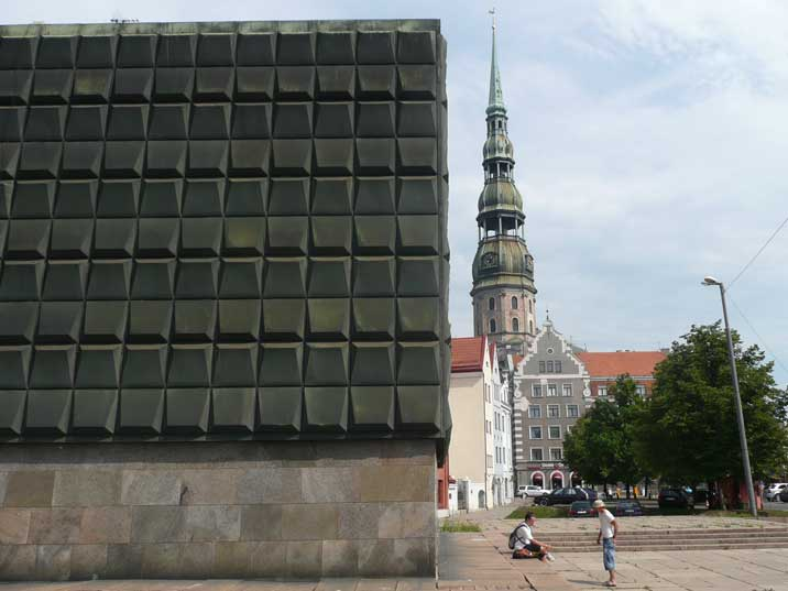 Latvian Occupation Museum, the St. Peters church in the background