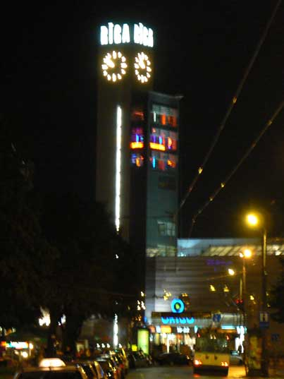 The characteristic Riga Origo clock at night, build in 1965