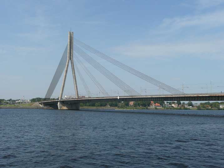 The Shroud bridge over the Daugava river in Riga Latvia