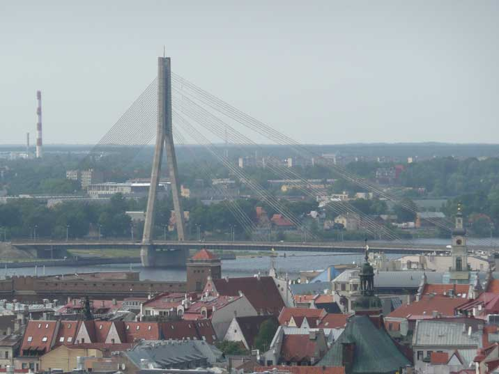 The Shroud bridge seen from the Latvian academy of sciences