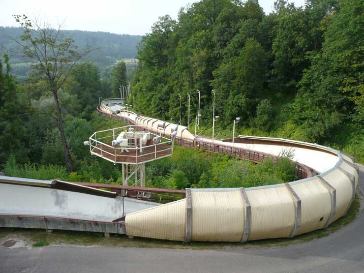 Curve of the Sigulda bobsleigh track used by the Soviet team