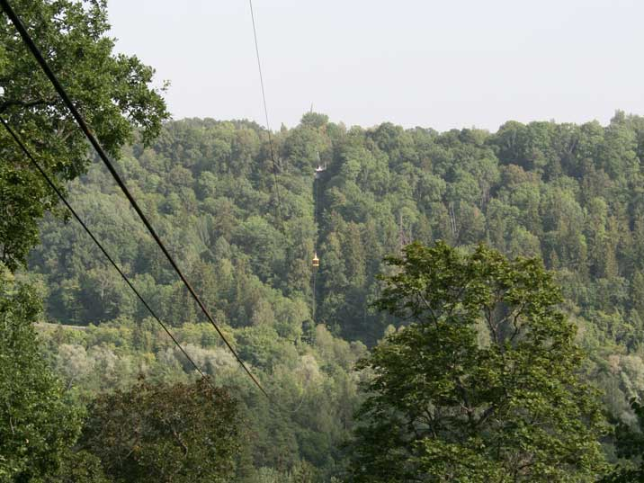 View from the Sigulda cable car on the Hills around the Gauja