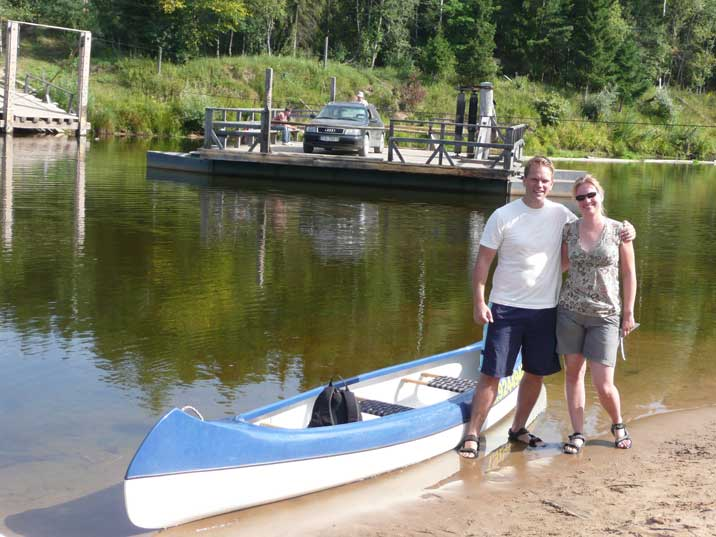 Our Gauja canoe with a hand operated ferry in the background