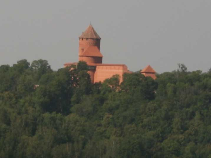 Krimulda castle build on a hill in the dense Latvian forest