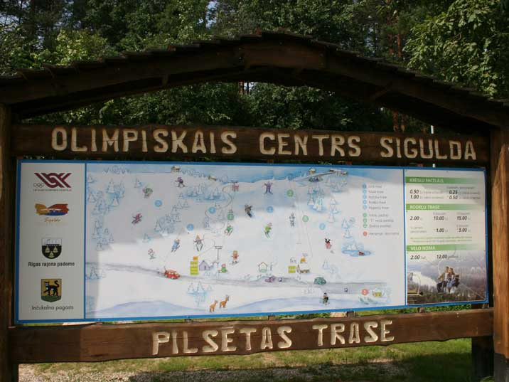 Map of the Sigulda Ski Slope the biggest ski area in Latvia