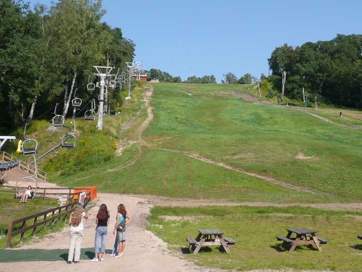Sigulda Ski Slope with ski lift still in use during the summer