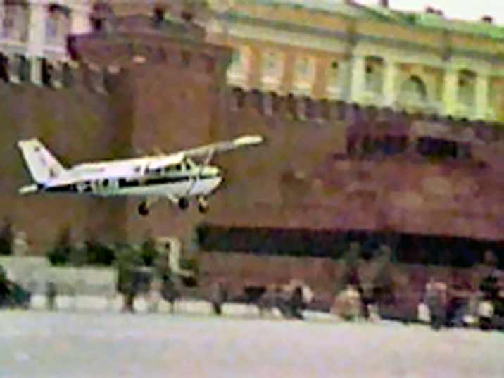 Mathias Rust landing on Red Square in 1987 with a Cessna 172P