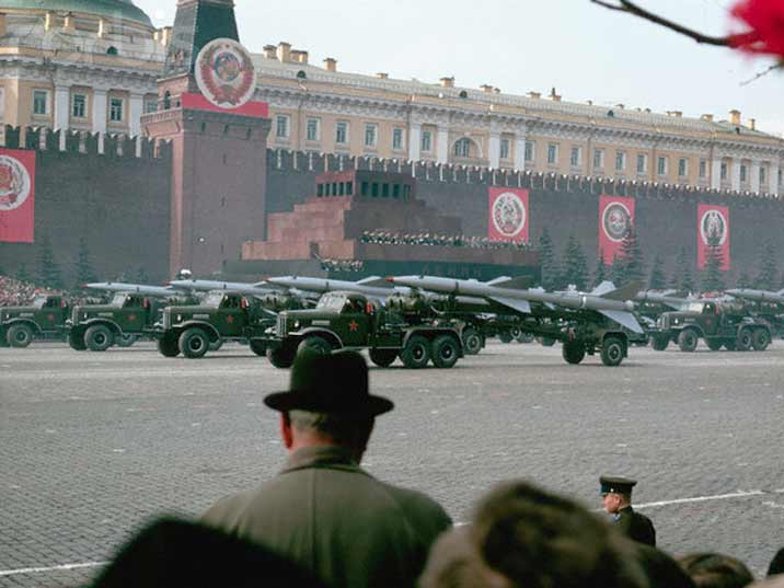 The Soviet Politburo looking at amphibious vehicles on May Day