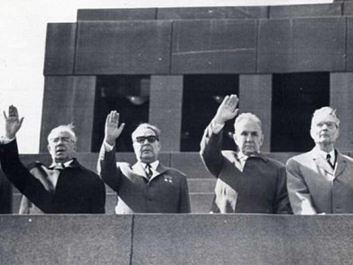 High ranking Soviet bosses overseeing the May Day parade in 1966