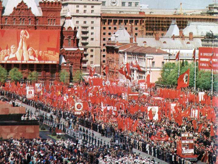 Leonid Brezjnev during the 1977 May Day parade on Red Square