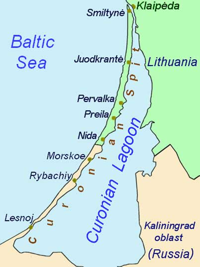 Map of the Curonian Split a 98 km long thin sand-dune spit