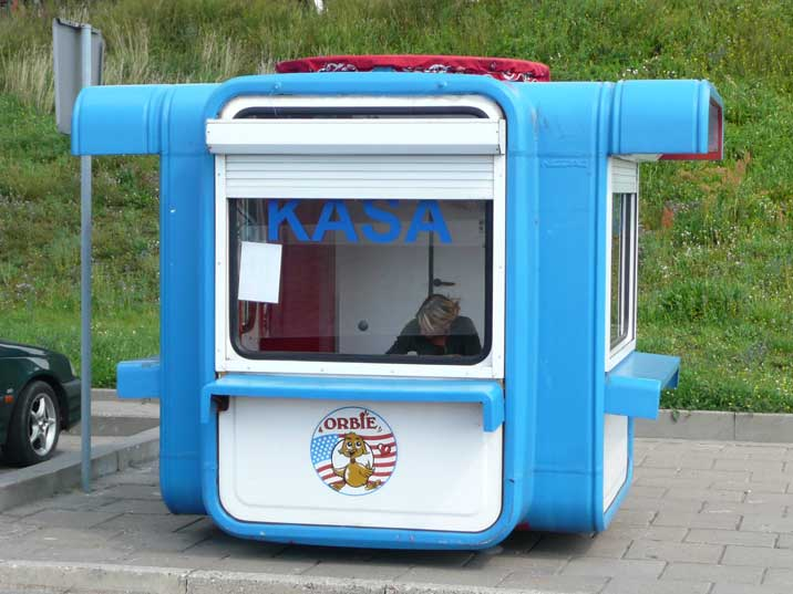 K67 kiosk used as ticket office in the Klaipeda harbour