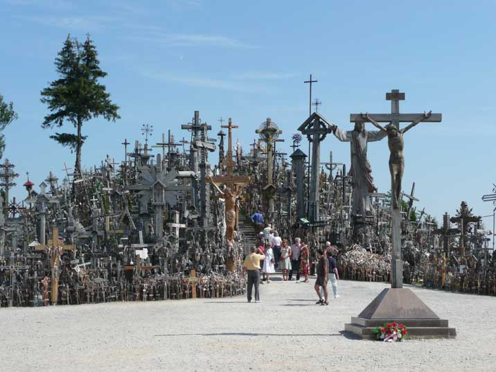 Tourist on the Lithuanian Hill of Crosses once visited by the Pope