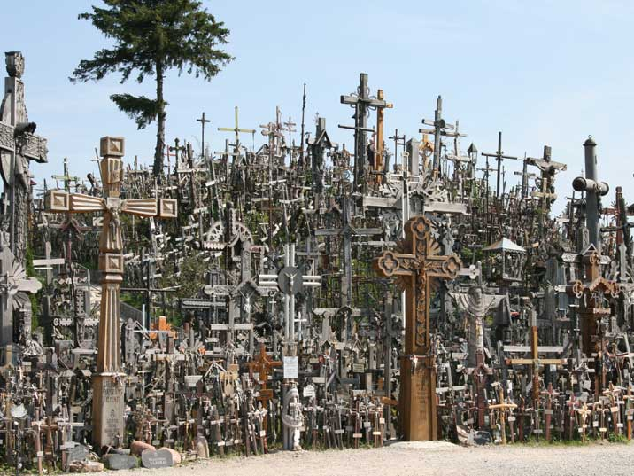 Thousands big and small crosses on the Lithuanian Hill of Crosses